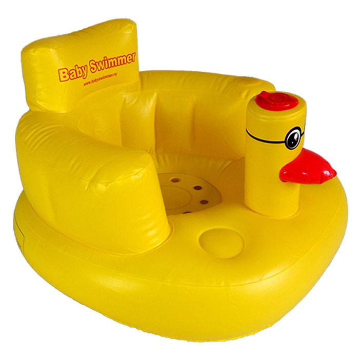 Надувное детское кресло станет незаменимым предметом во время купания. Усадив в него ребенка в большой ванне можно не бояться, что вода и мыльная пена попадет ребенку в глазки, носик или ушки. Сиденье с высокой спинкой и подголовником надежно удержит малыша, не позволяя ему соскользнуть в воду. Мягкий эластичный материал и отсутствие выступающих швов обеспечивают тактильный комфорт и не травмируют нежную детскую кожу. Собираясь в дорогу с детьми, важно заботится о их безопасности и обеспечить максимально удобные условия. Любимое надувное кресло поможет создать видимость домашней обстановки и малыш проще отнесется к неудобствам, связанным с дорогой. Персональное кресло просто необходимо во время отдыха на природе, ведь такое место для сидения гораздо эффективнее множества матрасов, пледов или одеял, расстеленных просто на траве. Детям в надувных креслах будет сухо, мягко и комфортно на пикнике в парке, на берегу озера и на песчаном морском пляже.Надувается изделие с помощью встроенного насоса с клапаном, надавливанием и поднятием столбика (головы) утки (смотри рисунок ниже). Для сдутия откройте передний верхний клапан и надавите пальцем посередине.