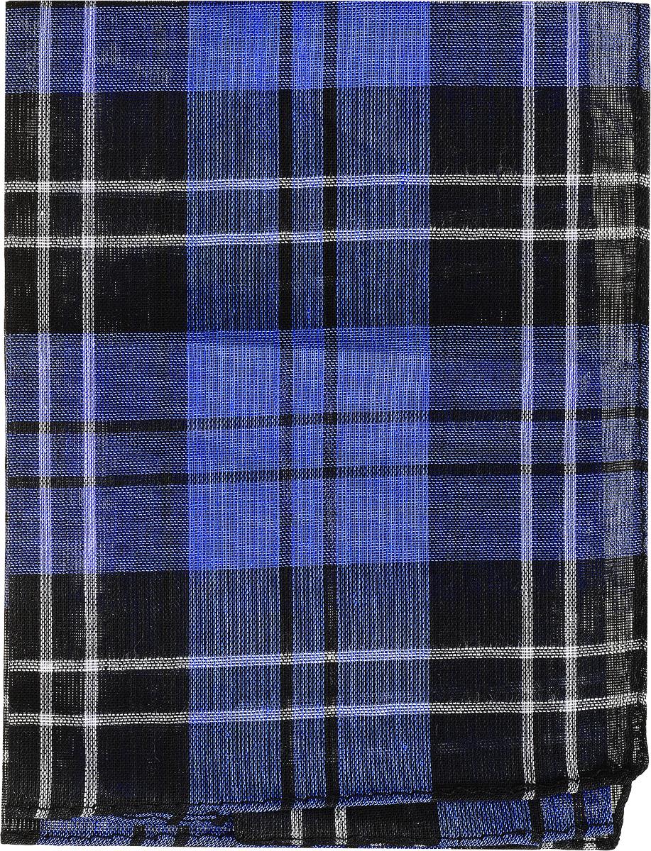 Платок носовой мужской Zlata Korunka, цвет: черный, синий, белый. 45449. Размер 33 см х 35 см39864 Серьги с подвескамиМужской носовой платок Zlata Korunka, изготовленный из натурального хлопка, приятен в использовании и хорошо стирается. Материал не садится и отлично впитывает влагу. Модель оформлена оригинальным принтом.