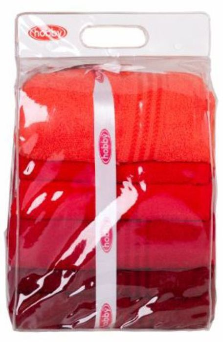Набор полотенец Hobby Home Collection Rainbow, цвет: красный, темно-красный, бордовый, 70 х 140 см, 4 шт68/5/1Набор Hobby Home Collection Rainbow состоит из четырех махровых полотенец, выполненных из натурального 100% хлопка. Изделия мягкие, отлично впитывают влагу, быстро сохнут, сохраняют яркость цвета и не теряют форму даже после многократных стирок. Полотенца Hobby Home Collection Rainbow очень практичны и неприхотливы в уходе. Они легко впишутся в любой интерьер благодаря своей нежной цветовой гамме.Размер полотенец: 70 х 140 см.