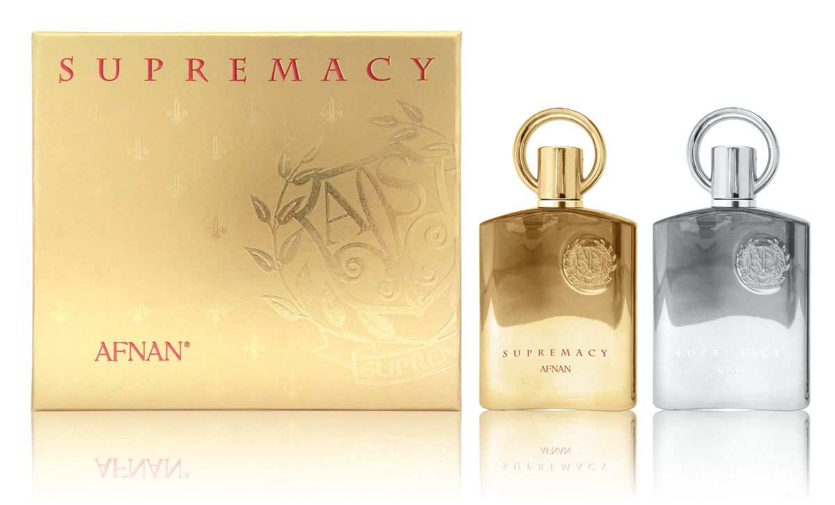 Afnan Парфюмерный Набор Supremacy Gift Set (Supremacy Pour Femme, 100 мл + Supremacy Pour Homme, 100 мл)WS 7064Подарочный набор состоит из двух ароматов для него и для неё SUPREMACY(ПРЕВОСХОДСТВО)парфюмерная вода для женщинСемейство ароматов:удовые, пряные, цветочныеВерхние ноты:фиалка, цветы персика, тмин, мускатный орехНоты «сердца»:пачули, ирисБазовые ноты:амбра, ваниль, бензоин, удовое дерево SUPREMACY POUR HOMME(ПРЕВОСХОДСТВО)парфюмерная вода для мужчин100 млСемейство ароматов:древесно-цветочные, мускусныеВерхние ноты:яблоко, бергамот, черная смородина, ананасНоты «сердца»:роза, береза, марокканский жасмин, пачулиБазовые ноты:дубовый мох, мускус, амбра, ваниль