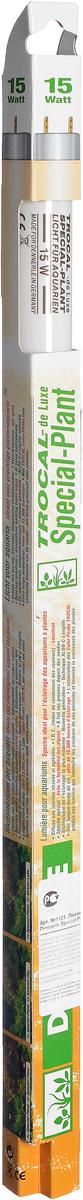 Лампа люминесцентная Dennerle Special Plant, Т8, 15 Вт, длина 43,8 см0120710Люминесцентная лампа Dennerle Special Plant предназначена для освещения пресноводных аквариумов. Лампа покрыта UV-стоп защитной пленкой для предотвращения роста водорослей. Создает гармоничную световую атмосферу в аквариуме, имеет оптимальный спектр для фотосинтеза и идеальную цветовую температуру, обеспечивая пышный рост всех аквариумных растений. Благодаря высокой степени цветопередачи рыбы и растения освещаются в самых выигрышных тонах. Люминесцентная лампа Dennerle Special Plant обладает специальными спектрально-цветовыми пиками (COLAR Color-Peaks). Лампа изготовлена по новейшей технологии Longlife-Technik, что гарантирует свыше 15000 часов работы.