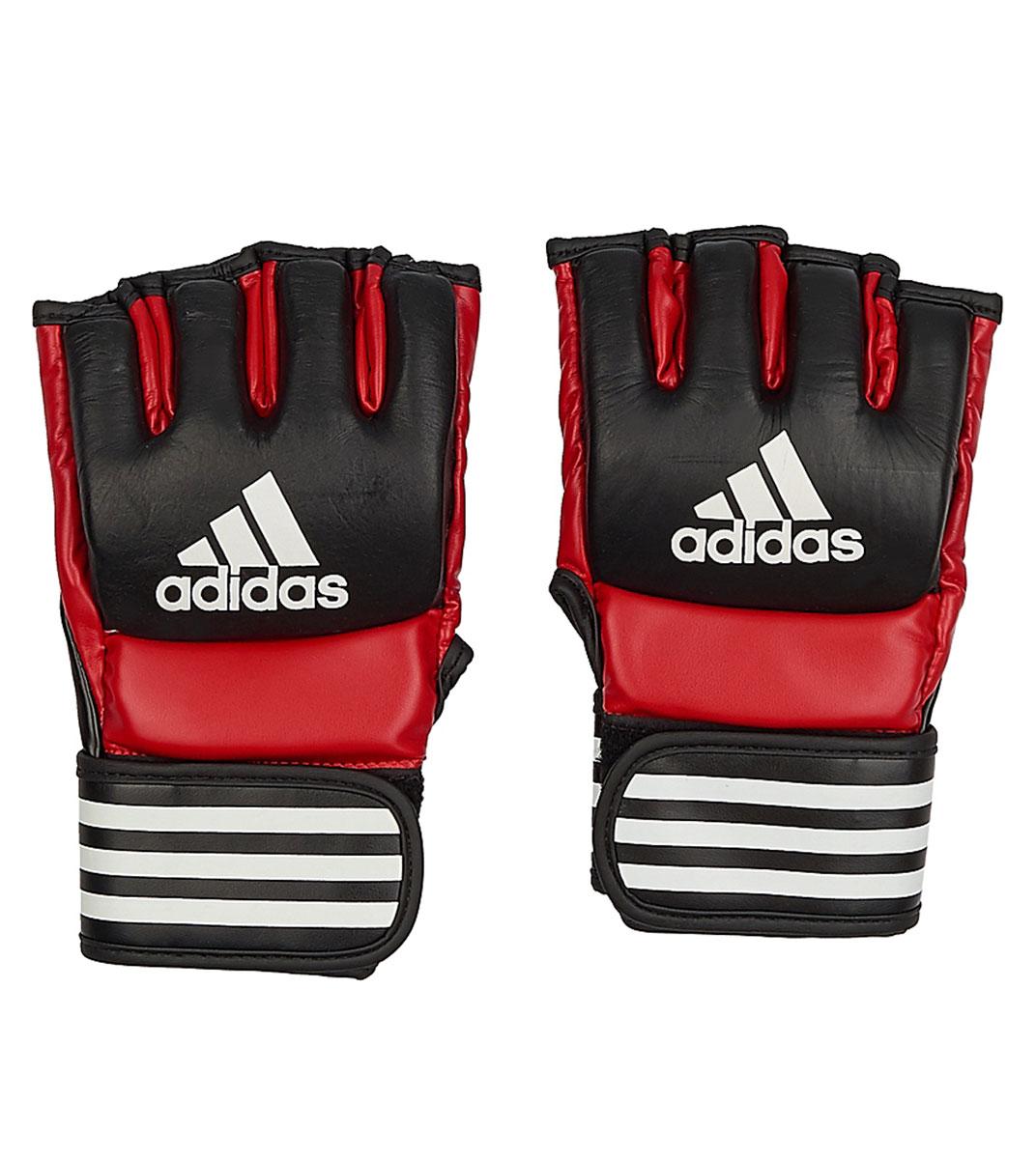 Перчатки для смешанных единоборств Adidas Ultimate Fight, цвет: черный, красный. Размер XLBB1637Боевые перчатки Adidas Ultimate Fight предназначены для занятий смешанными единоборствами. Они изготовлены из натуральной воловьей кожи с черными вставками из вспененного полимера. Внутренняя часть выполнена с использованием технологии I-Comfort+, благодаря чему перчатки быстро высыхают, не скользят по руке и не вызывают аллергии. Застежка на липучке способствует быстрому и удобному одеванию перчаток, плотно фиксирует перчатки на руке. Одобрены UFC.