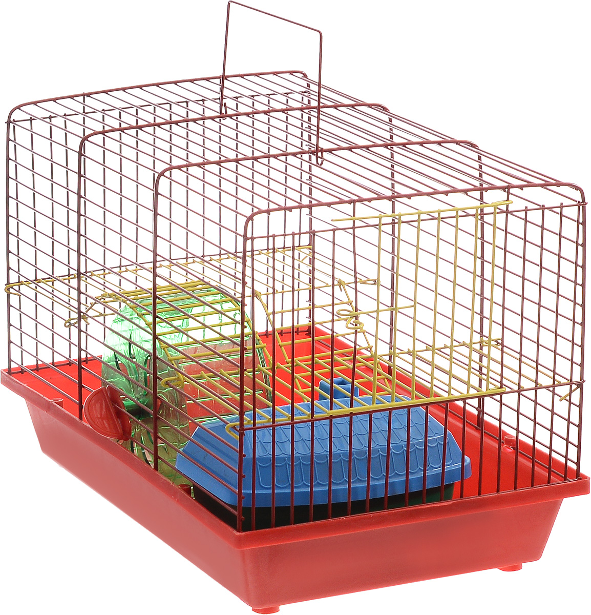 Клетка для грызунов Зоомарк Венеция, 2-этажная, цвет: красный поддон, красная решетка, желтый этаж, 36 х 23 х 24 см0120710Клетка Венеция, выполненная из полипропилена и металла, подходит для мелких грызунов. Изделие двухэтажное, оборудовано колесом для подвижных игр и пластиковым домиком. Клетка имеет яркий поддон, удобна в использовании и легко чистится. Сверху имеется ручка для переноски. Такая клетка станет уединенным личным пространством и уютным домиком для маленького грызуна.