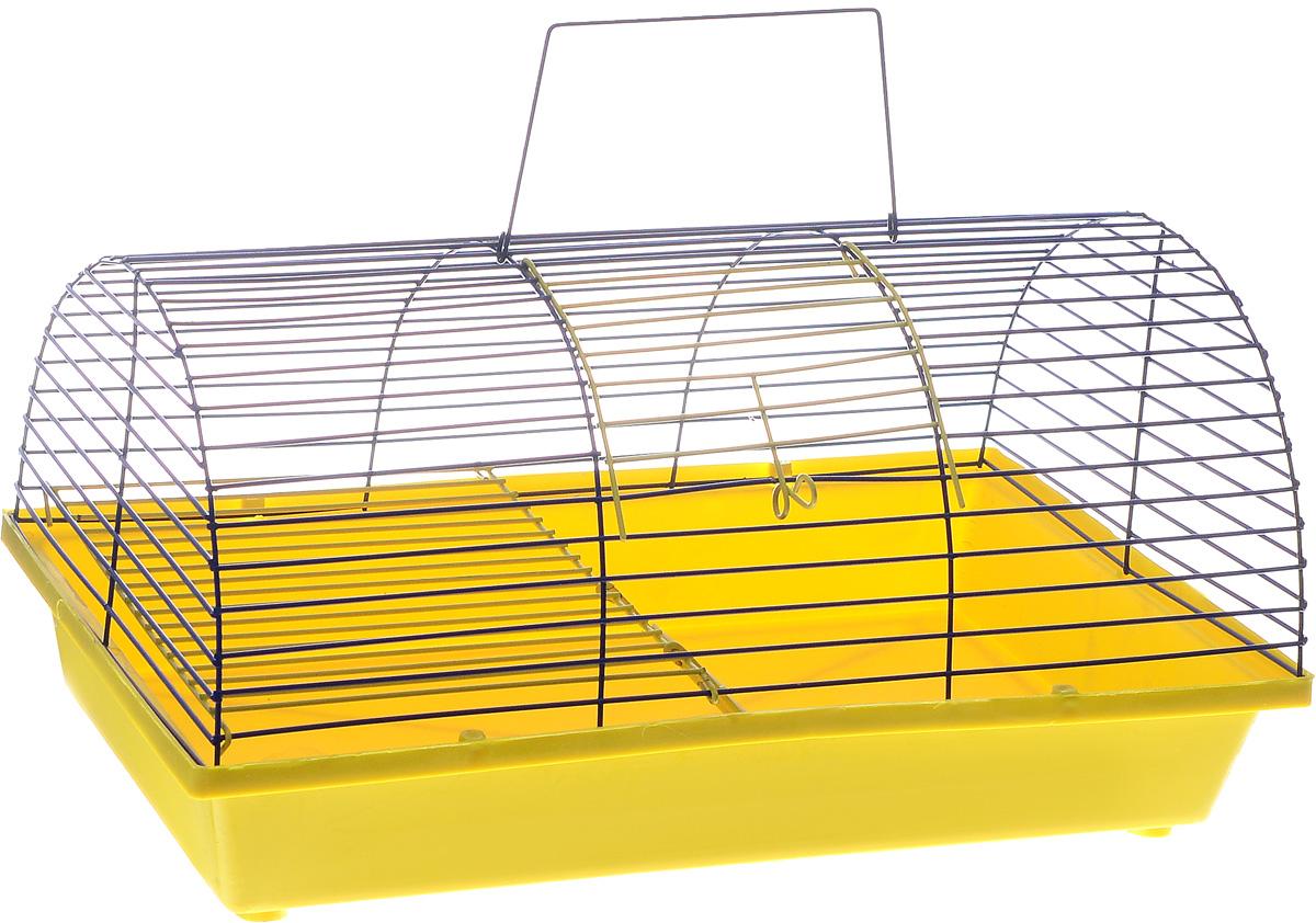 Клетка для грызунов ЗооМарк, цвет: желтый поддон, синяя решетка, 36 х 23 х 17,5 см125ССКлетка ЗооМарк, выполненная из полипропилена и металла, подходит для грызунов. Она имеет яркий поддон, удобна в использовании и легко чистится. Клетка оснащена вторым ярусом с лесенкой, выполненных из металла.Такая клетка станет уединенным пространством и уютным домиком для маленького грызуна.