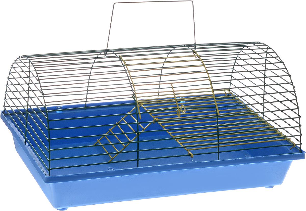 Клетка для грызунов ЗооМарк, цвет: синий поддон, зеленая решетка, 36 х 23 х 17,5 смКВР1цбКлетка ЗооМарк, выполненная из полипропилена и металла, подходит для грызунов. Она имеет яркий поддон, удобна в использовании и легко чистится. Клетка оснащена вторым ярусом с лесенкой, выполненных из металла.Такая клетка станет уединенным пространством и уютным домиком для маленького грызуна.