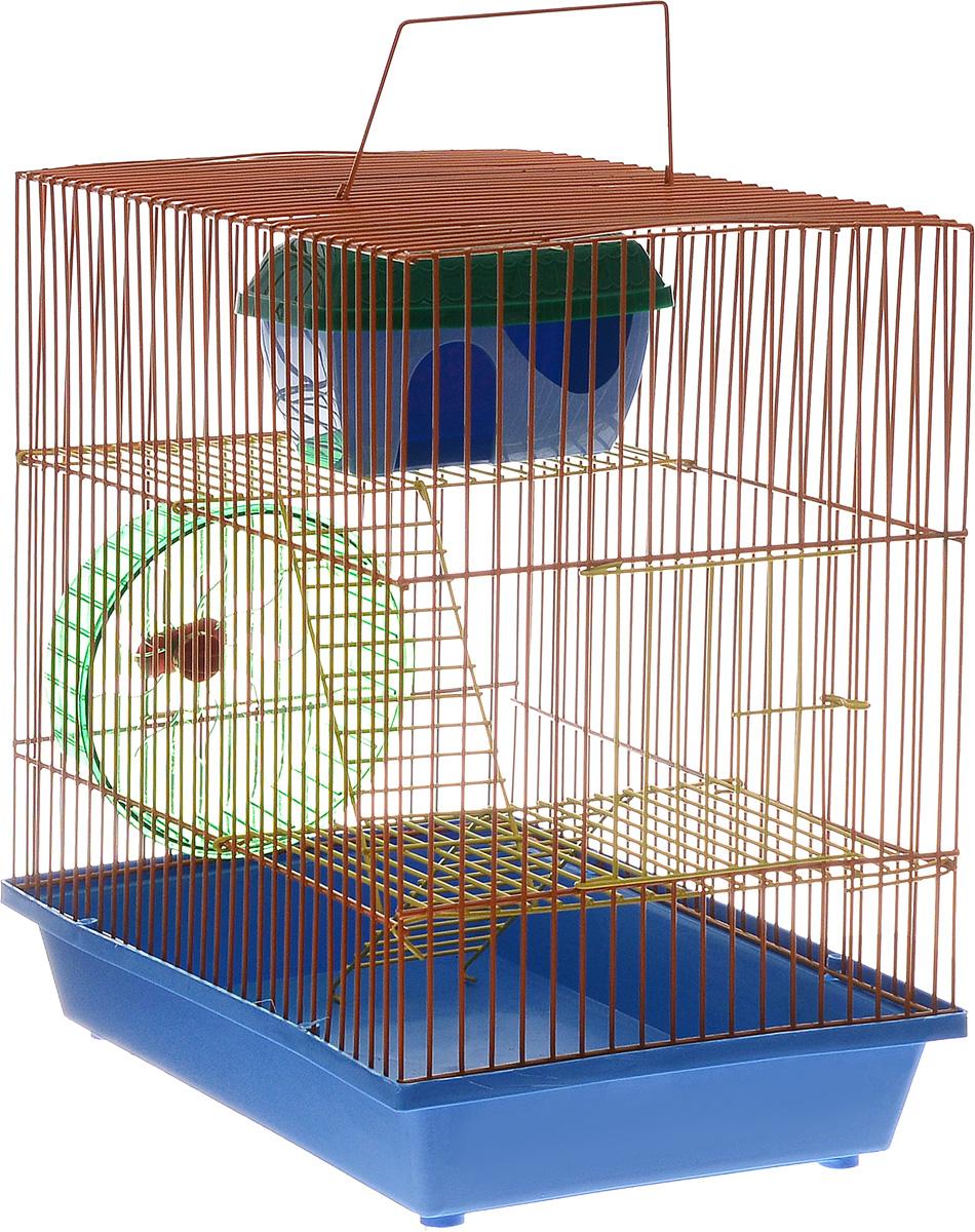 Клетка для грызунов ЗооМарк, 3-этажная, цвет: синий поддон, оранжевая решетка, желтые этажи, 36 х 23 х 34,5 см101246Клетка ЗооМарк, выполненная из полипропилена и металла, подходит для мелких грызунов. Изделие трехэтажное, оборудовано колесом для подвижных игр и пластиковым домиком. Клетка имеет яркий поддон, удобна в использовании и легко чистится. Сверху имеется ручка для переноски. Такая клетка станет уединенным личным пространством и уютным домиком для маленького грызуна.