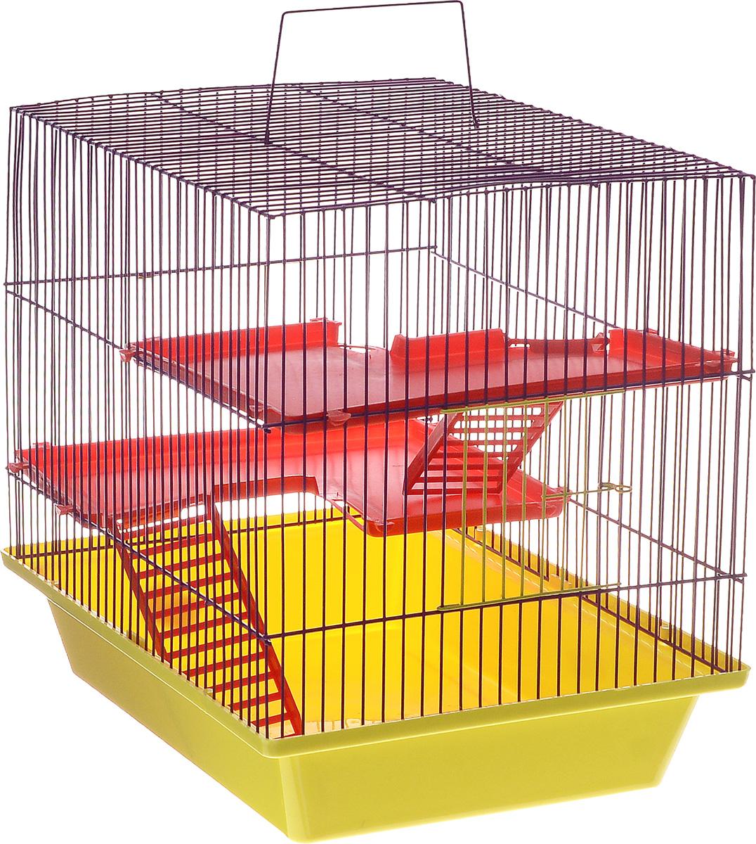 Клетка для грызунов ЗооМарк Гризли, 3-этажная, цвет: желтый поддон, фиолетовая решетка, красные этажи, 41 х 30 х 36 см240ж_желтый, фиолетовыйКлетка ЗооМарк Гризли, выполненная из полипропилена и металла, подходит для мелких грызунов. Изделие трехэтажное. Клетка имеет яркий поддон, удобна в использовании и легко чистится. Сверху имеется ручка для переноски.Такая клетка станет уединенным личным пространством и уютным домиком для маленького грызуна.
