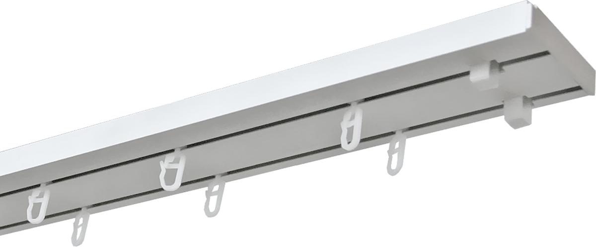 Карниз потолочный Уют Оптима, двухрядный, составной, длина 260 см1004900000360Двухрядный шинный карниз Уют Оптима, выполненный из пластика белого цвета, подходит для штор любого типа. Такой вид карнизов прост по конструкции (шины и бегунки), а, кроме того, невероятно практичен, так как позволяет повесить и шторы, и тюль, и ламбрекен (причем в центре внимания будут именно шторы), а сам карниз будет практически незаметен. Способ крепления таких карнизов, в основном, потолочный. Помимо практичности шинный карниз обладает рядом других преимуществ: при открытии и закрытии штор он создает минимум шума. Такой карниз также является водостойким, что позволяет использовать его в ванной комнате и на балконе. Он подойдет для любых видов штор, за исключением очень тяжелых тканей.