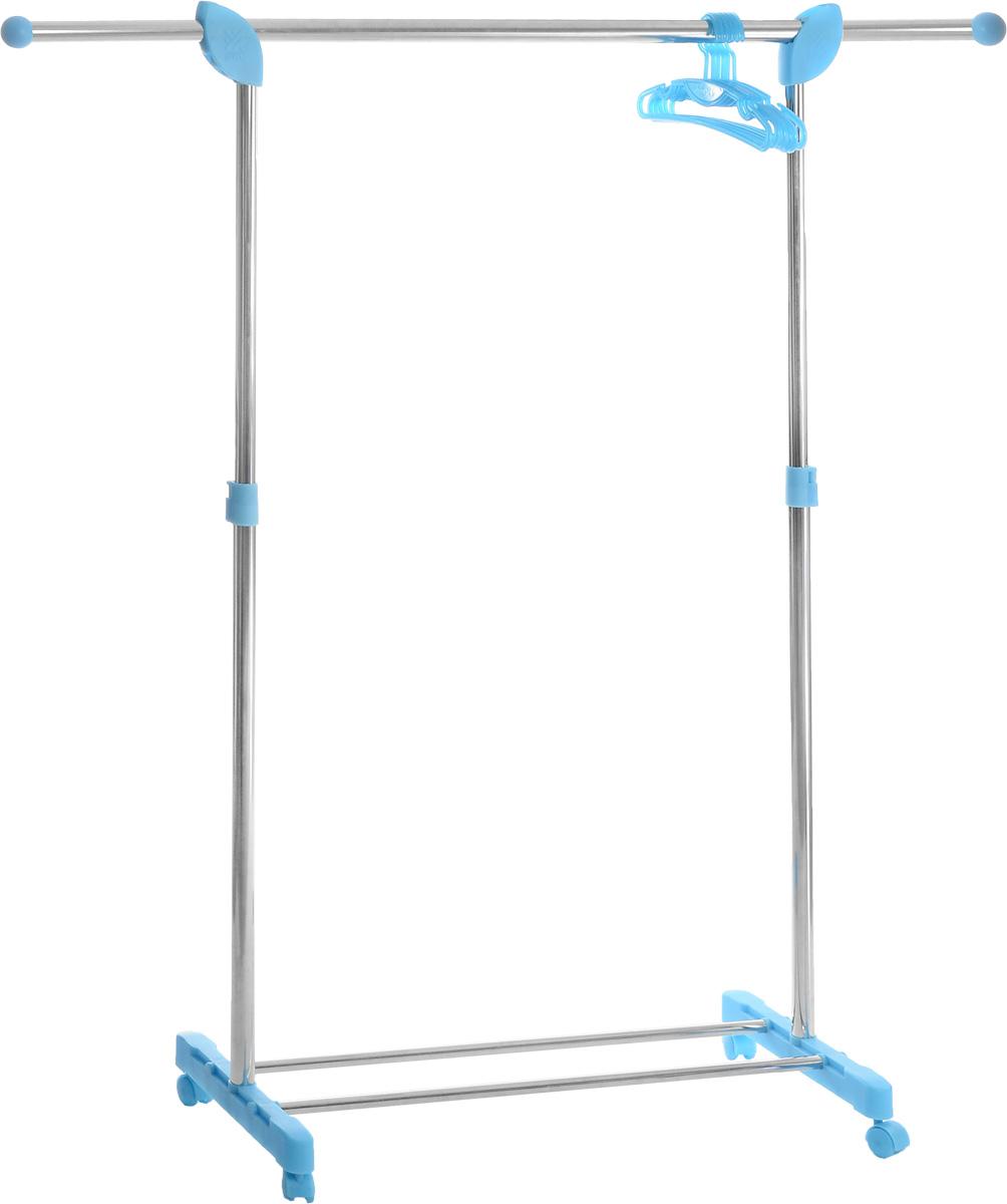 Вешалка напольная Gimi Super Paco, с плечиками, 147 см х 43 см х 97-172 см41619Напольная вешалка гардеробного типа Gimi Super Paco прекрасно впишется в интерьер гостиной, спальни, коридора и станет дополнительным местом для одежды в гардеробной комнате. Вешалка имеет стальной корпус с отделкой пластмассовыми элементами. Изделие имеет перекладину и дополнительно 6 пластиковых вешалок для одежды, а также подставку для обуви. Для легкого перемещения вешалка снабжена колесиками. Регулируется по высоте. Вешалка очень вместительная, она удобная и крепкая, прекрасно подойдет на все случаи жизни. Максимальная нагрузка: 25 кг. Длина подставки для обуви: 82 см. Количество вешалок: 6 см.
