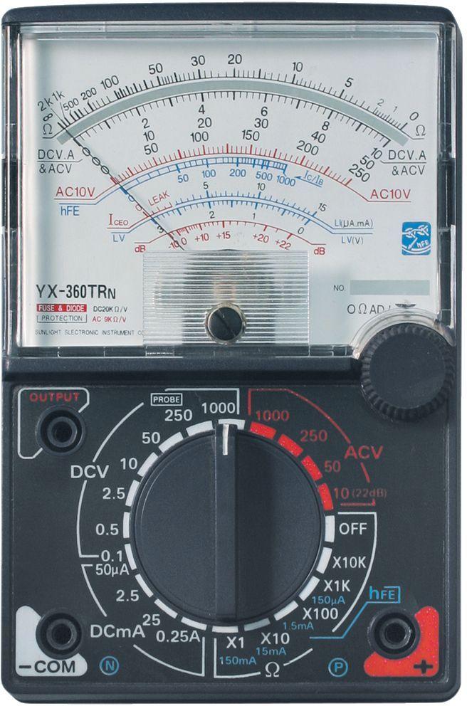 Мультиметр ТЕК YX-360 TRn98295719Постоянное напряжение 0,1-0,5-2,5-10-50-250-1000 +/- 0,5% VПостоянный ток 50мк-2,5м-25м-0,25А+/-1,2% АСопротивление 2к-20к-200к-2М-0МОм+/-1,8% мОмРабочая температура 0/+40 °С