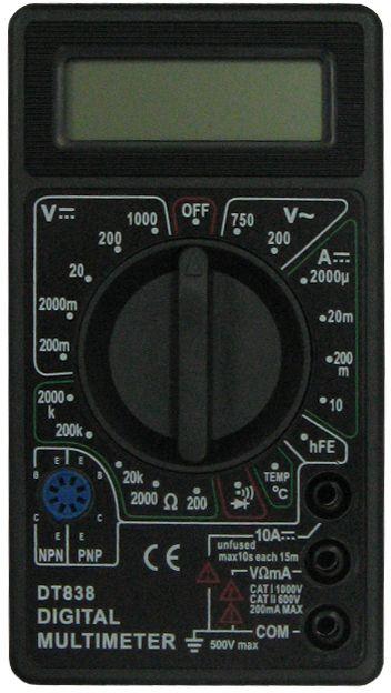Мультиметр ТЕК DT 838FS-80423Наименование РЕСАНТА DT 838 МультиметрПостоянное напряжение 200м-2000м-20-200-1000 VПостоянный ток 2м-20м-200м-10А+/-1,2% АСопротивление 200-2к-20к-200к-2М-20М-200МОм+/-1,0% мОмРабочая температура 0/+40 °С