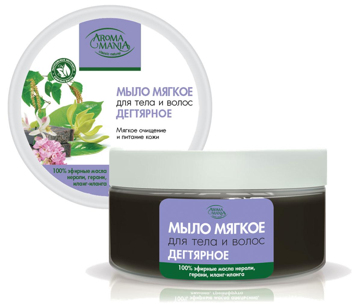 Лекус Аромамания Мыло мягкое для тела и волос дегтярное, 250 мл5010777139655Дегтярное мыло обладает уникальными антисептическими свойствми