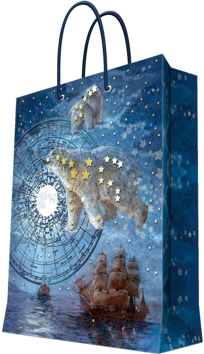 Пакет подарочный Magic Home Большая медведица, 17,8 х 22,9 х 9,8 см09840-20.000.00Подарочный пакет Magic Home, изготовленный из плотной бумаги, станет незаменимым дополнением к выбранному подарку. Дно изделия укреплено картоном, который позволяет сохранить форму пакета и исключает возможность деформации дна под тяжестью подарка. Пакет выполнен с глянцевой ламинацией, что придает ему прочность, а изображению - яркость и насыщенность цветов. Для удобной переноски имеются две ручки в виде шнурков.Подарок, преподнесенный в оригинальной упаковке, всегда будет самым эффектным и запоминающимся. Окружите близких людей вниманием и заботой, вручив презент в нарядном, праздничном оформлении.Плотность бумаги: 140 г/м2.