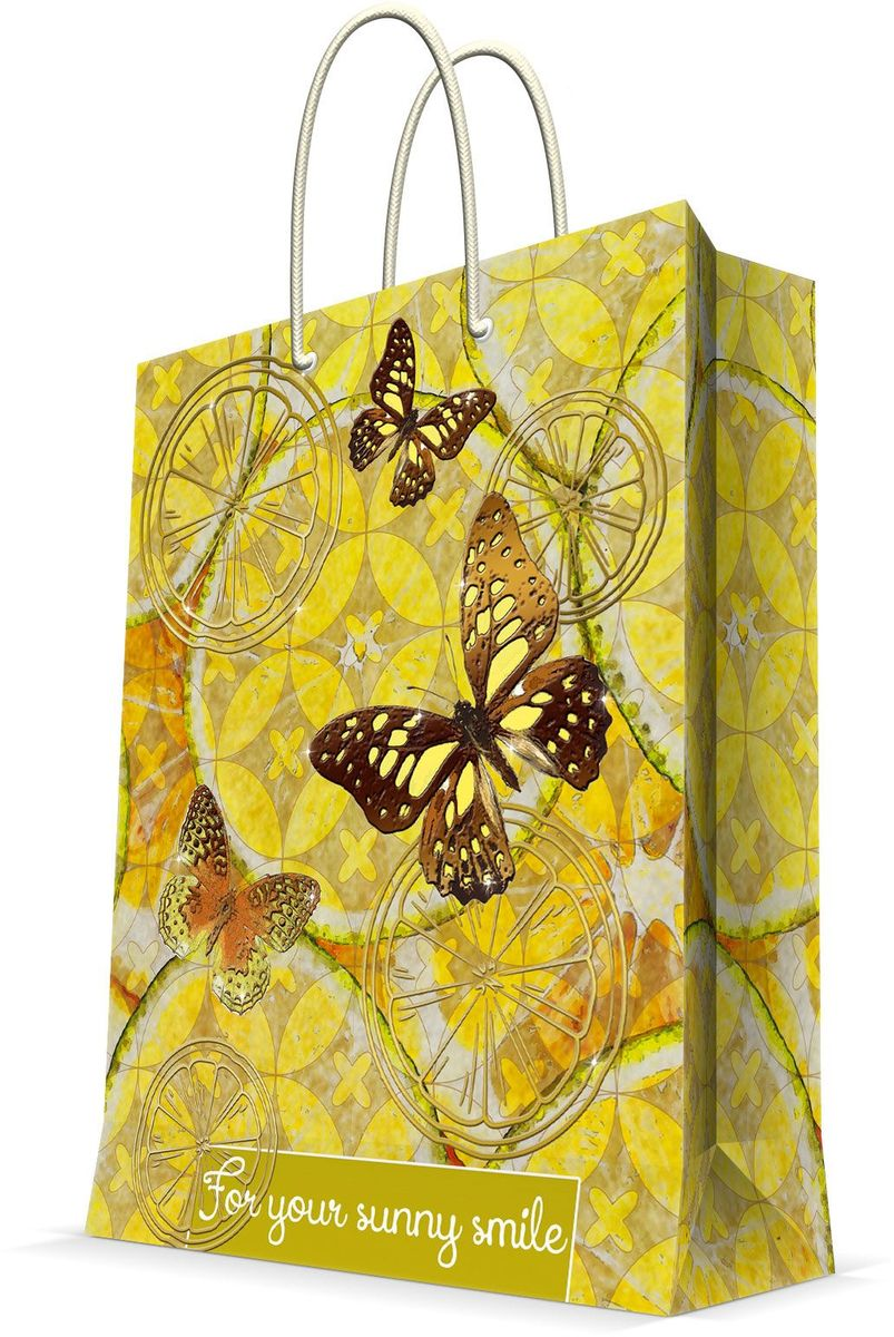 Пакет подарочный Magic Home Лимонные бабочки, 17,8 х 22,9 х 9,8 смRSP-202SПодарочный пакет Magic Home, изготовленный из плотной бумаги, станет незаменимым дополнением к выбранному подарку. Дно изделия укреплено картоном, который позволяет сохранить форму пакета и исключает возможность деформации дна под тяжестью подарка. Пакет выполнен с глянцевой ламинацией, что придает ему прочность, а изображению - яркость и насыщенность цветов. Для удобной переноски имеются две ручки в виде шнурков.Подарок, преподнесенный в оригинальной упаковке, всегда будет самым эффектным и запоминающимся. Окружите близких людей вниманием и заботой, вручив презент в нарядном, праздничном оформлении.Плотность бумаги: 140 г/м2.