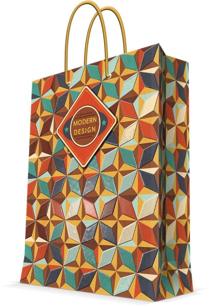 Пакет подарочный Magic Home Модерн, 26 х 32,4 х 12,7 смAM599006Подарочный пакет Magic Home, изготовленный из плотной бумаги, станет незаменимым дополнением к выбранному подарку. Дно изделия укреплено картоном, который позволяет сохранить форму пакета и исключает возможность деформации дна под тяжестью подарка. Пакет выполнен с глянцевой ламинацией, что придает ему прочность, а изображению - яркость и насыщенность цветов. Для удобной переноски имеются две ручки в виде шнурков.Подарок, преподнесенный в оригинальной упаковке, всегда будет самым эффектным и запоминающимся. Окружите близких людей вниманием и заботой, вручив презент в нарядном, праздничном оформлении.Плотность бумаги: 140 г/м2.