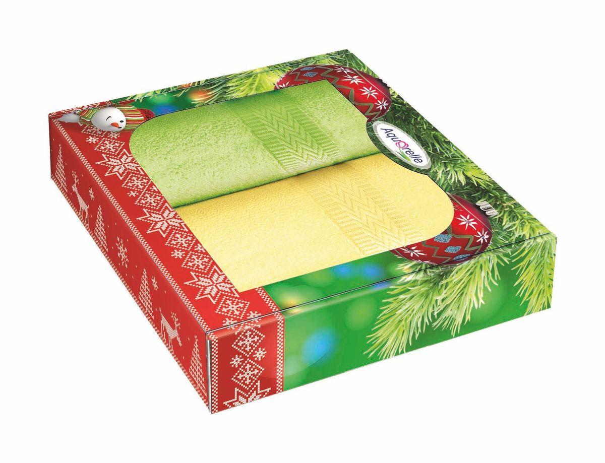 Набор полотенец Aquarelle Настроение, цвет: светло-желтый, травяной, 50 х 90 см, 2 шт68/5/1Махровые полотенца Aquarelle Настроение - неотъемлемая часть повседневного быта, они создают дополнительные акценты в ванной комнате. Продукция производится из высококачественных материалов.Ткань: 100% хлопок.Плотность: 400 г/кв.м.Размер: 50х 90 см.В наборе 2 полотенца.