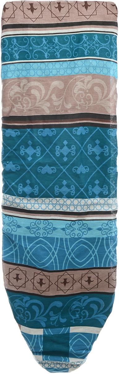 Чехол для гладильной доски Eva, цвет: голубой, зеленый, коричневый, 119 х 37 см чехол для головных уборов eva цвет коричневый 33 х 33 х 20 см