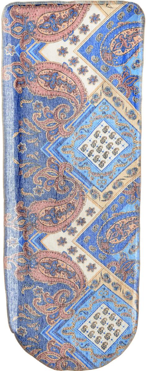 Чехол для гладильной доски Eva Грация, цвет: синий, розовый, бежевый, 125 х 47 смЕ13_синий, огурцыЧехол Eva Грация, выполненный из хлопка с поролоновым слоем, продлит срок службы вашей гладильнойдоски. Чехол снабжен стягивающим шнуром, припомощи которого вы легко отрегулируетеоптимальное натяжение чехла и зафиксируете его нарабочей поверхности гладильной доски.Размер чехла: 125 х 47 см. Максимальный размер доски: 116 х 47 см.