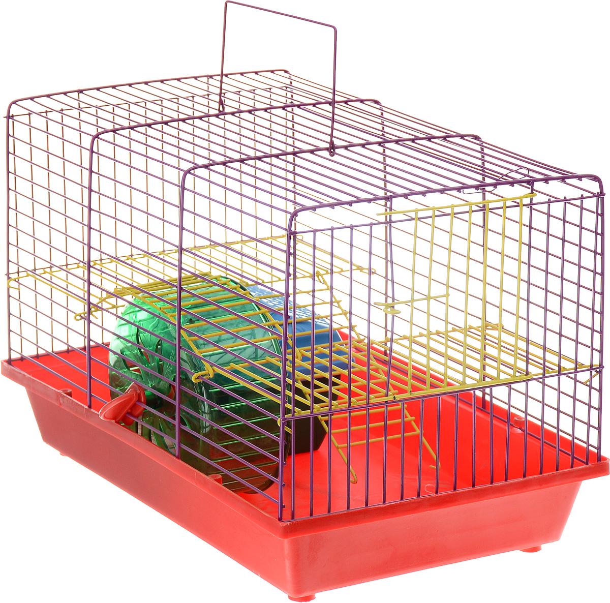 Клетка для грызунов Зоомарк Венеция, 2-этажная, цвет: красный поддон, фиолетовая решетка, желтый этаж, 36 х 23 х 24 см210_желтый, красныйКлетка Венеция, выполненная из полипропилена и металла, подходит для мелких грызунов. Изделие двухэтажное, оборудовано колесом для подвижных игр и пластиковым домиком. Клетка имеет яркий поддон, удобна в использовании и легко чистится. Сверху имеется ручка для переноски. Такая клетка станет уединенным личным пространством и уютным домиком для маленького грызуна.