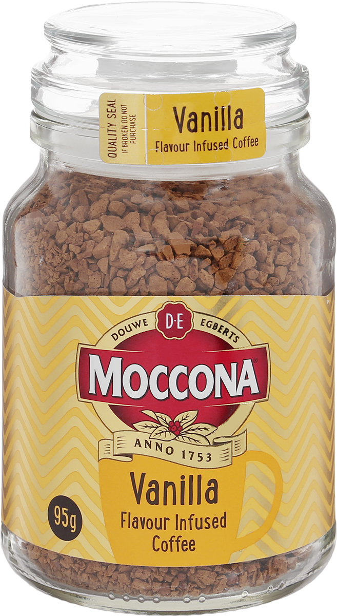 Moccona Vanilla кофе растворимый с ароматом ванили, 95 г (стеклянная банка)0120710Почувствуйте лёгкий и нежный привкус ванили, который добавит экзотики и гармонии в Вашу чашку кофе Moccona Vanilla.