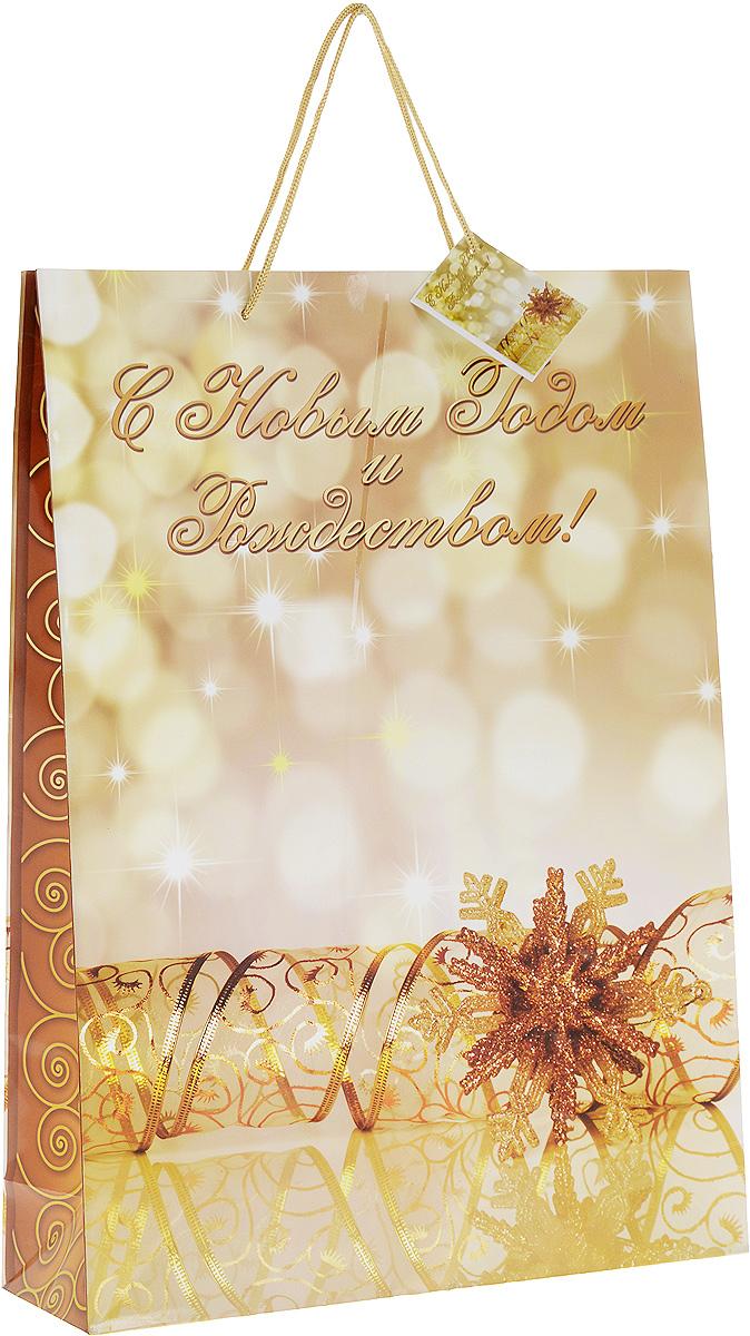 Пакет подарочный Magic Time, цвет: золотистый, 33 х 45,7 х 10,2 см. 276221194232Подарочный пакет Magic Time, изготовленный из плотной бумаги, станет незаменимым дополнением к выбранному подарку. Для удобной переноски на пакете имеются две ручки из шнурков.Подарок, преподнесенный в оригинальной упаковке, всегда будет самым эффектным и запоминающимся. Окружите близких людей вниманием и заботой, вручив презент в нарядном, праздничном оформлении.