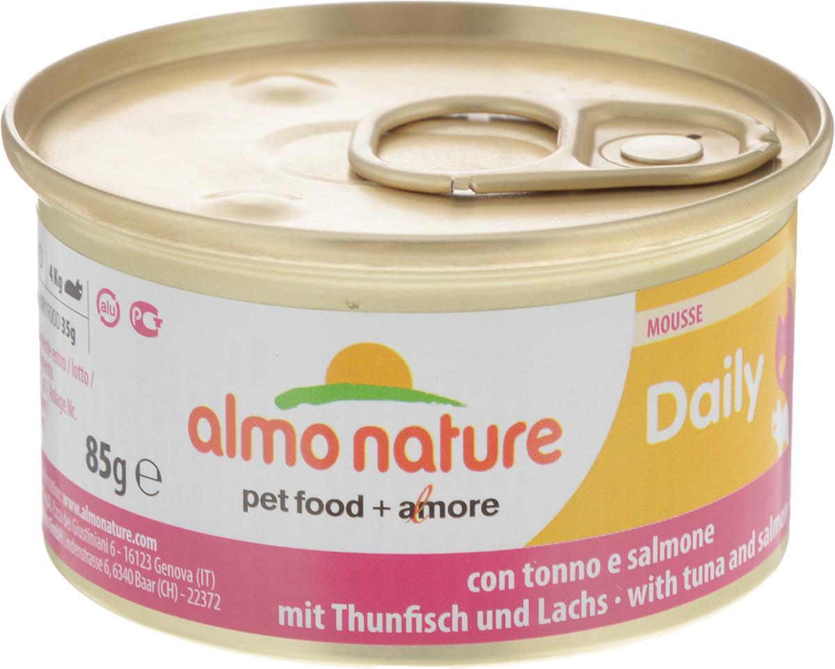 Консервы для кошек Almo Nature Daily Menu, мусс с тунцом и лососем, 85 г0120710Приятный сюрприз для вашей кошки - нежное мясо, превращенное в деликатный мусс с использованием ингредиентов высочайшего качества. Любая привереда замурлыкает от удовольствия, если у нее в миске окажется такой деликатес как консервы Almo Nature Daily Menu. Особый метод приготовления консервированного корма Almo Nature сохраняет привлекательный аромат и свежесть продукта, ведь мясо приготавливается в собственном бульоне и только затем превращается в мусс. Минералы, также присутствующие в составе, особенно медь, участвуют в формировании костной и тканевой системе, выполняют функции антиоксиданта.Состав: мясо и его производные, рыба и ее производные (тунец 4%, лосось 4%), минералы, экстракт растительного белка. Пищевые добавки: витамин A 1110 IU/кг, витамин D3 140 IU/кг, витамин E 10 мг/кг, таурин 490 мг/кг,сульфат меди пентагидрат 4,4 мг/кг (Cu 1,1 мг/кг); технологические добавки: камедь кассии 3000 мг/кг. Пищевая ценность: белки 9.5%, клетчатка 0.4%, масла и жиры 6%, зола 2%, влажность 81%. Калорийность: 881 ккал/кг. Товар сертифицирован.