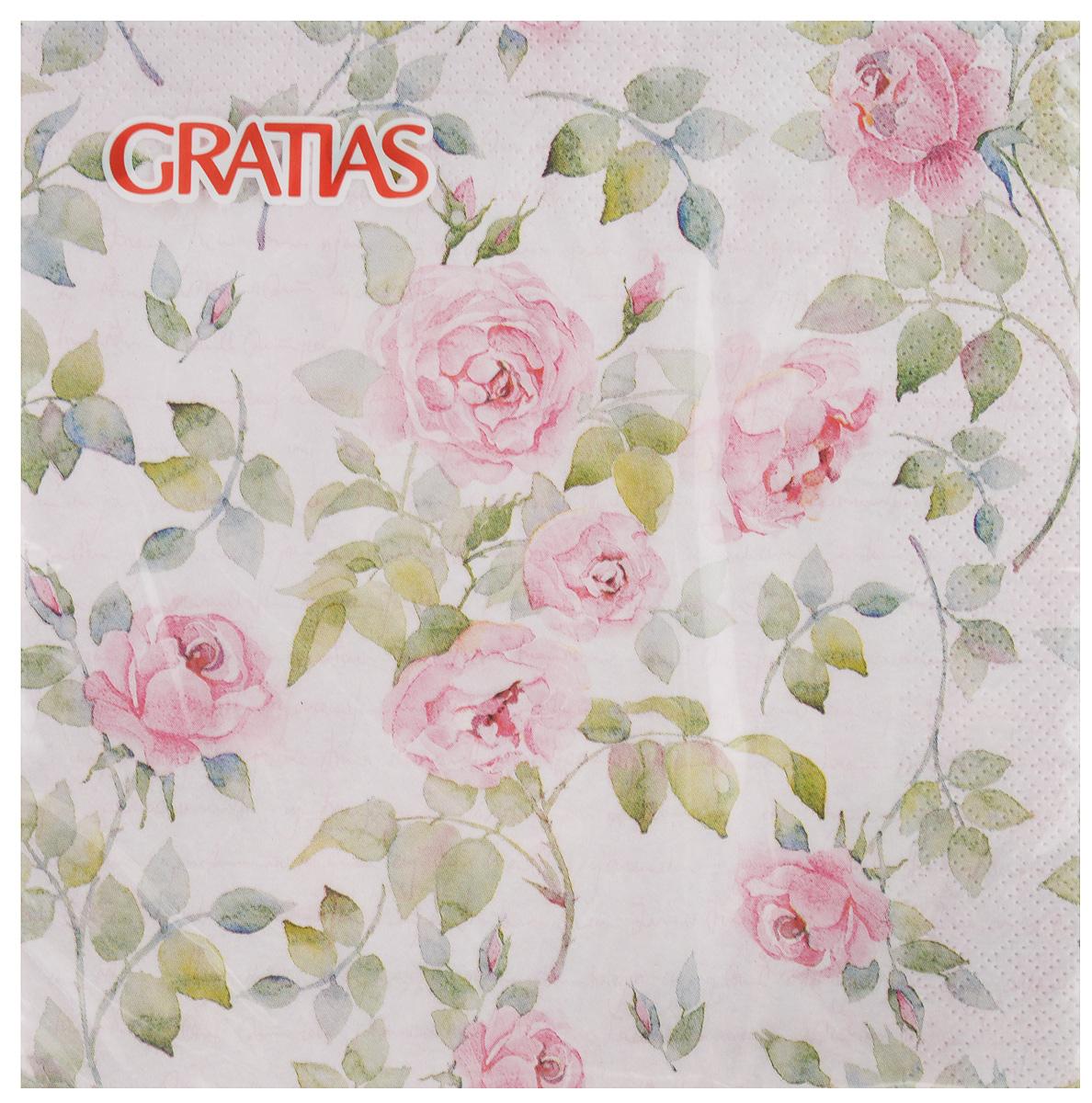 """Салфетки бумажные Gratias """"Роза с письмом"""", трехслойные, 33 х 33 см, 20 шт"""