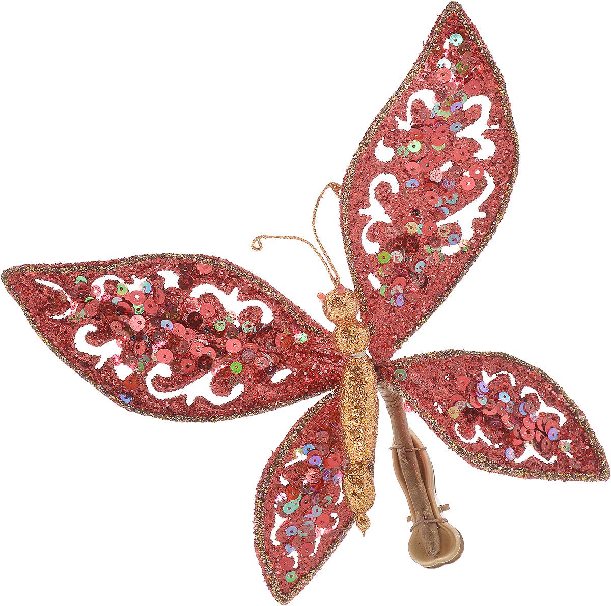 Украшение новогоднее Lovemark Бабочка ажурная, на клипсе, цвет: красный, бронзовый, длина 19 смN09343Новогоднее подвесное украшение Lovemark Бабочка ажурная прекрасно подойдет для праздничного декора новогодней ели и украшения интерьера. Изделие в виде бабочки декорировано пайетками и дополнено сверкающими блестками. Для размещения предусмотрена клипса. Елочная игрушка - символ Нового года. Она несет в себе волшебство и красоту праздника. Создайте в своем доме атмосферу веселья и радости, украшая новогоднюю елку нарядными игрушками, которые будут из года в год накапливать теплоту воспоминаний. Откройте для себя удивительный мир сказок и грез. Почувствуйте волшебные минуты ожидания праздника, создайте новогоднее настроение вашим дорогим и близким.