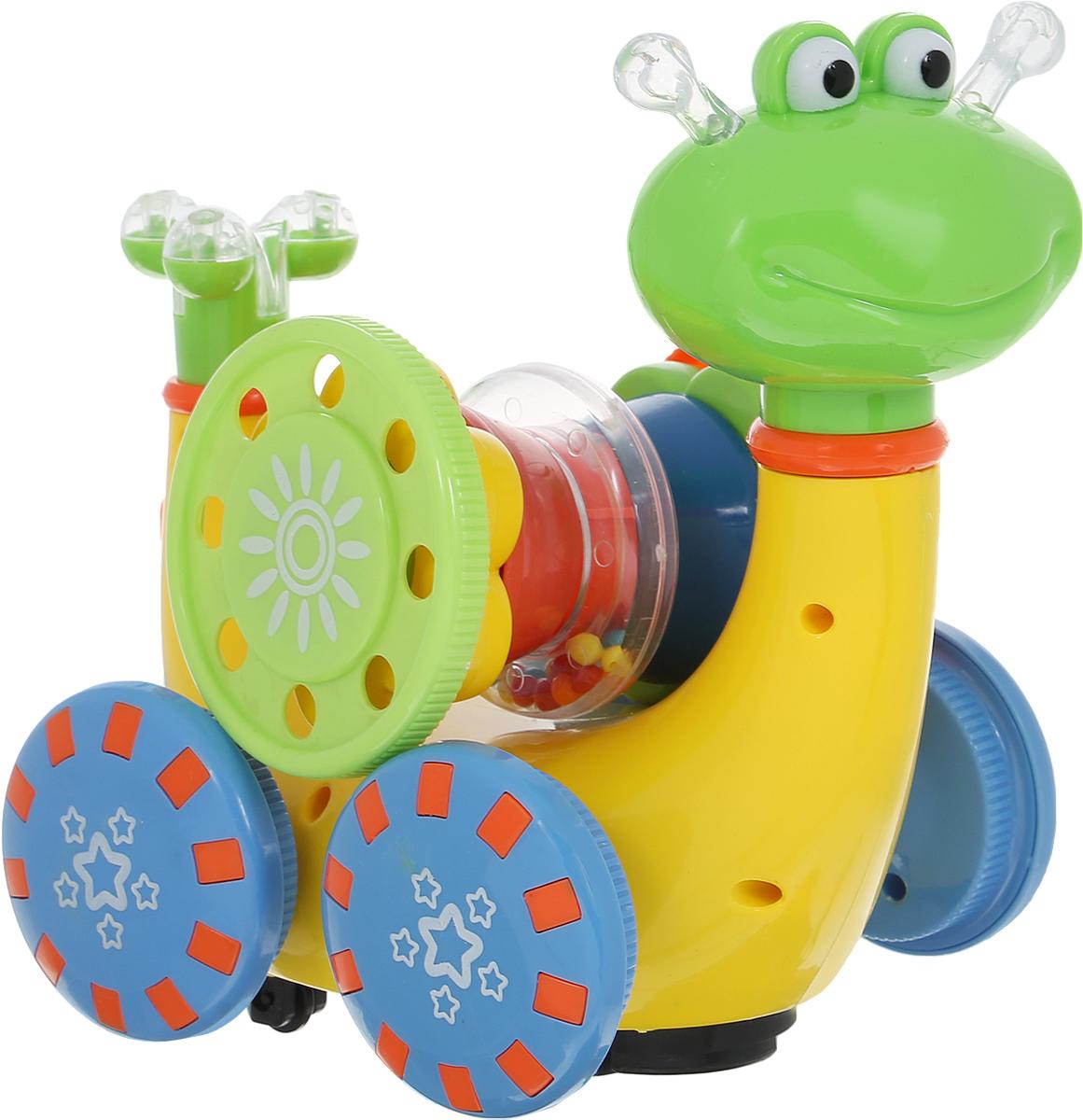 Умка Развивающая игрушка Гусеница-пирамидка цвет желтый салатовый синий умка развивающая игрушка фотоаппарат чебурашки