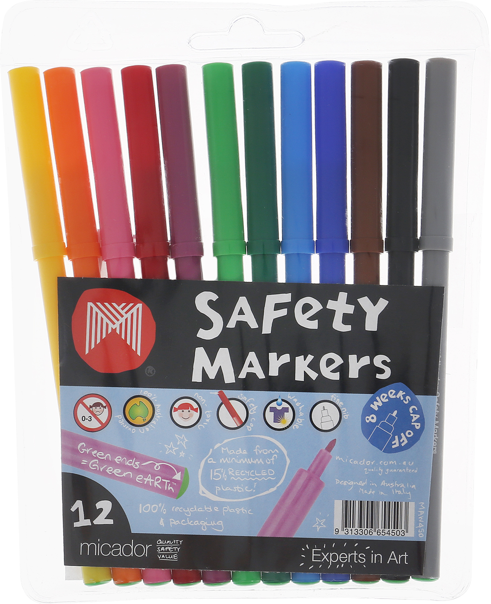 Micador Фломастеры 12 цветовMAW450Фломастеры Micador классических цветов на водной основе оценят не только маленькие художники, но их родители.Фломастеры не содержат спирта, растворителей и токсичных компонентов, поэтому полностью безопасны для маленьких детей. Фломастеры имеют яркие насыщенные цвета, чернила не расплываются на бумаге, что позволяет делать четкие линии. Изготовлены по запатентованной технологии Easy Wash. Отлично смываются как с кожи, так и с других поверхностей (ткани, мебели), что обязательно оценят родители. Фломастеры долговечные они не высыхают с открытым колпачком до 8 недель, при необходимости легко заправляются водой, а это значит, вам не придется покупать все новые и новые фломастеры долгое время.Рисование развивает творческие способности, воображение, логику, память, мышление.Австралийский бренд Micador - эксперт в товарах для детского творчества с 1954 года.