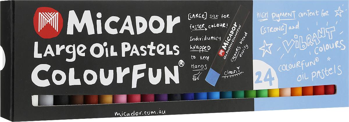Micador Масляные пастельные мелки 24 цветаOPM624Весело, ярко, мягко и безопасно рисуем по любой поверхности!Масляные пастельные мелки Micador - необычная палитра, наполненная стильными оттенками. Мелки дают глубокий, насыщенный цвет и красивую фактуру, отличаются от других мелков высокой упругостью и эластичностью.Каждый мелок обернут бумагой, чтобы ручки малыша не пачкались, легко смываются водой, что обязательно оценят родители. Мелки гипоаллергенные, не содержат токсичных веществ, полностью безопасны для маленьких детей.Рисование развивает творческие способности, воображение, логику, память, мышление. Состав мелка: карбонат кальция, стеариновая кислота, минеральное масло, пальмовое масло, диоксид титана, краситель, воск, вазелин.