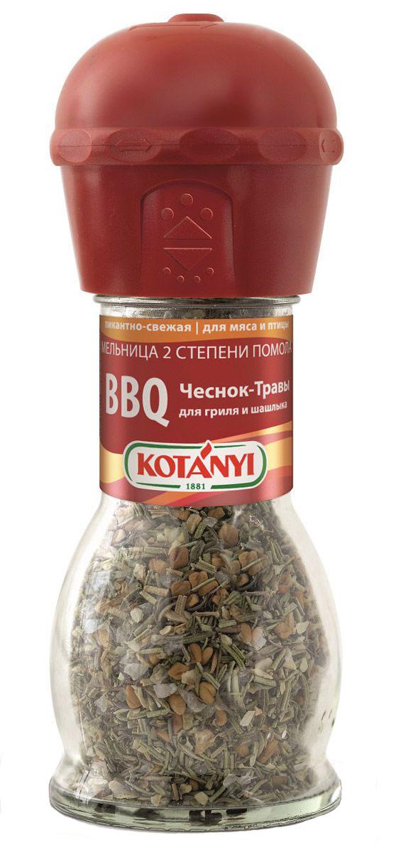 Kotanyi BBQ чеснок-травы приправа для гриля и шашлыка, 40 г0120710BBQ чеснок-травы приправа для гриля и шашлыка Kotanyi - пикантно-свежая приправа для мяса и птицы.Мельница имеет две степени помола.