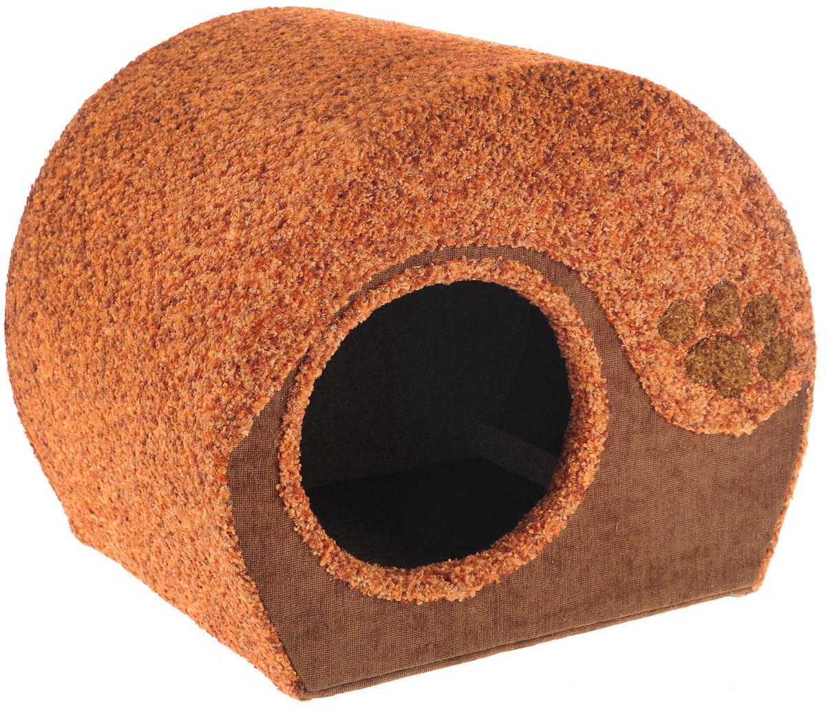 Домик для животных Неженка Лапа, цвет: коричневый, 39 х 33 х 34 см7331Большой, уютный домик Лапа, выполненный из ДСП, обитый тканью, отлично подойдет для вашего любимца. Такой домик станет не только идеальным местом для сна вашего питомца, но и местом для отдыха. Для максимального комфорта наружные части обтянуты мягкой тканью. Изделие имеет большой вход.Удобный и мягкий, он станет не только отличным домиком для вашего любимца, но еще и оригинальным украшением интерьера.