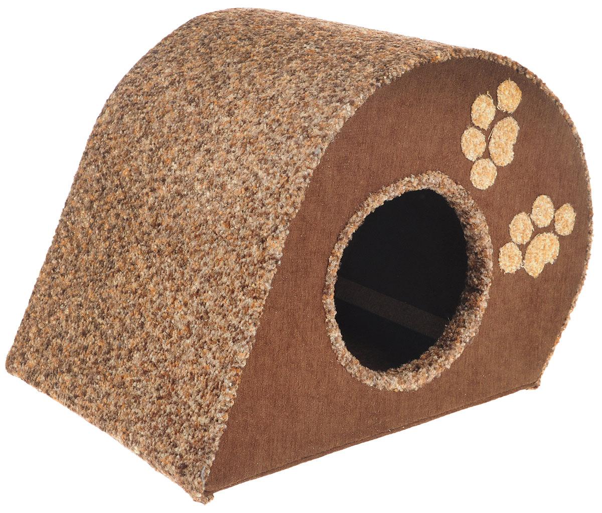 Домик для животных Неженка Капля, цвет: коричневый, серый, 50 х 33 х 34 см0120710Большой, уютный домик Капля, выполненный из ДСП, обитый тканью, отлично подойдет для вашего любимца. Такой домик станет не только идеальным местом для сна вашего питомца, но и местом для отдыха. Для максимального комфорта наружные части обтянуты мягкой тканью. Изделие имеет большой вход.Удобный и мягкий, он станет не только отличным домиком для вашего любимца, но еще и оригинальным украшением интерьера.Диаметр входа 17 см.