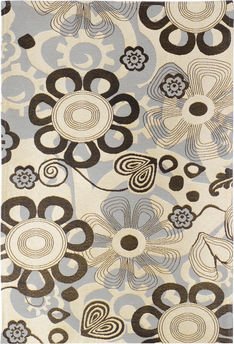 Коврик прикроватный Oriental Weavers Санлайт, цвет: черно-бежевый, 75 х 120 см. 74 KES-412Яркий гобеленовый ковер Oriental Weavers с оригинальным дизайном станет отличным дополнением классического и современного интерьера.