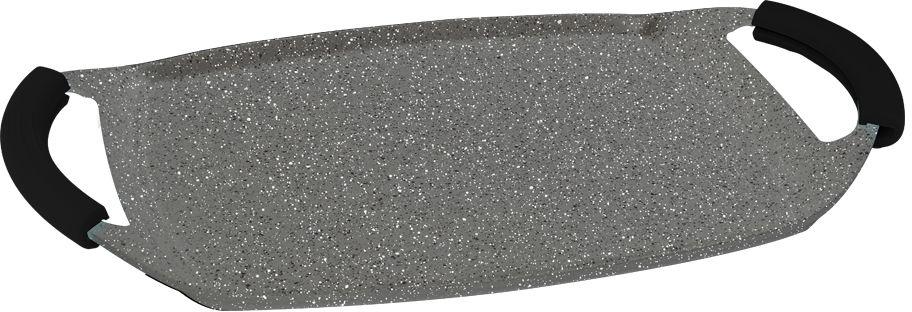 Гриль-плато Berlinger Haus Granit Diamond Line, цвет: серый, черный, 47 х 28,5 см391602Гриль-плато Berlinger Haus Granit Diamond Line изготовлено из качественного литого алюминия с 3 слоями мраморного покрытия. Такое покрытие предотвращает пригорание пищи, поэтому вы можете использовать меньше подсолнечного масла. Изделие абсолютно безопасно для здоровья и не выделяет вредных веществ во время готовки. Специальное индукционное дно TURBO INDUCTION экономит 35% энергии. Тепло распределяется равномерно по всей поверхности посуды, что позволяет пище готовиться быстрее. Кроме того, такое дно делает возможным использование гриля на плите для обжаривания пищи. Изделие снабжено удобными эргономичными ручками со съемными силиконовыми накладками, которые не нагреваются в процессе приготовления пищи и не дают вашим рукам обжечься. Гриль-плато подходит для газовых, электрических, галогенных, индукционных плит. Можно мыть в посудомоечной машине. Можно ставить в духовку, выдерживает температуру до +300°С.
