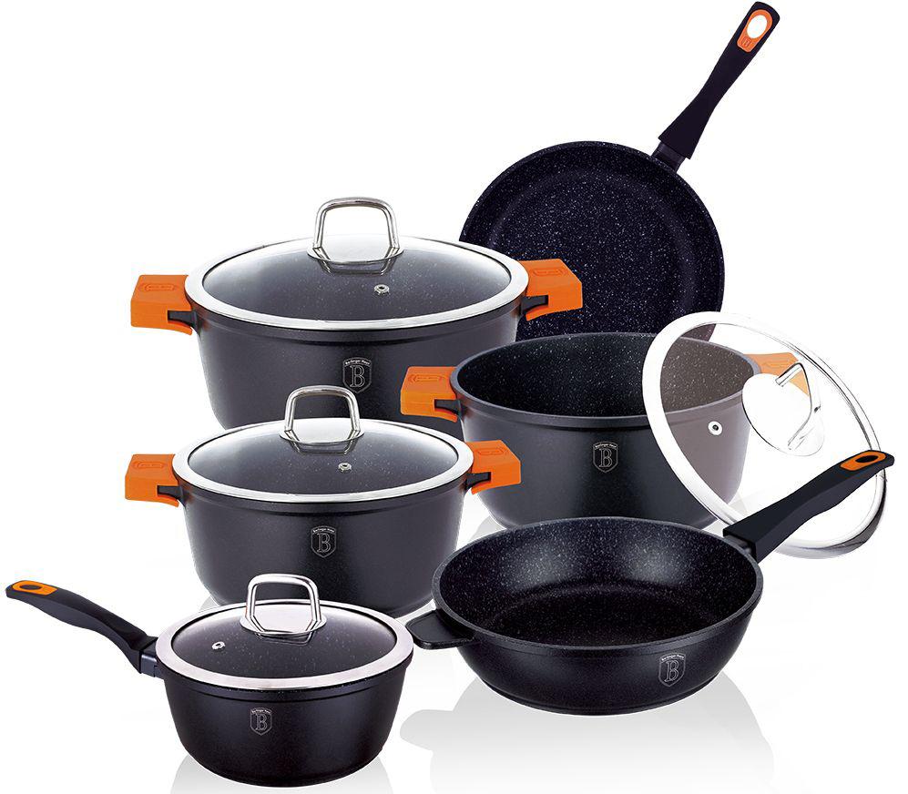 Набор посуды Berlinger Haus Granit Diamond Line, цвет: черный, оранжевый, 10 предметов54 009312Набор посуды Berlinger Haus Granit Diamond Line состоит из 3 кастрюль с крышками, 2 сковород, ковша с крышкой. Посуда изготовлена из литого алюминия с высококачественным мраморным антипригарным покрытием в 3 слоя. Такое покрытие предотвращает пригорание пищи и ее прилипание к стенкам. Оно абсолютно безопасно для здоровья и не выделяет вредных веществ во время готовки. Специальное индукционное дно TURBO INDUCTION экономит 35% энергии. Тепло распределяется равномерно по всей поверхности посуды, что позволяет пище готовиться быстрее. Сковороды оснащены ручками с покрытием soft-touch, а кастрюли - удобными ручками со съемными силиконовыми накладками. Такие ручки не нагреваются в процессе приготовления пищи и не дают вашим рукам обжечься. Крышки выполнены из жаростойкого стекла и снабжены ручкой из нержавеющей стали (безопасны для использования в духовке). Посуда подходит для газовых, электрических, стеклокерамических, галогенных, индукционных плит. Можно мыть в посудомоечной машине. Можно ставить в духовку вместе с крышкой, выдерживает температуру до +220°С. Объем кастрюль: 2,2 л, 4,2 л, 5,8 л. Диаметр кастрюль: 20 см, 24 см, 28 см. Высота стенки кастрюль: 8,9 см, 11,2 см, 12,1 см. Диаметр сковороды: 20 см. Высота стенки сковороды: 3,9 см. Диаметр глубокой сковороды: 24 см. Высота стенки глубокой сковороды: 6,5 см. Объем ковша: 1,2 л. Диаметр ковша: 16 см. Высота стенки ковша: 7,8 см.