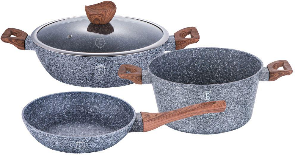 """Набор посуды Berlinger Haus """"Forest Line"""", с мраморно-гранитным покрытием, 4 предмета"""