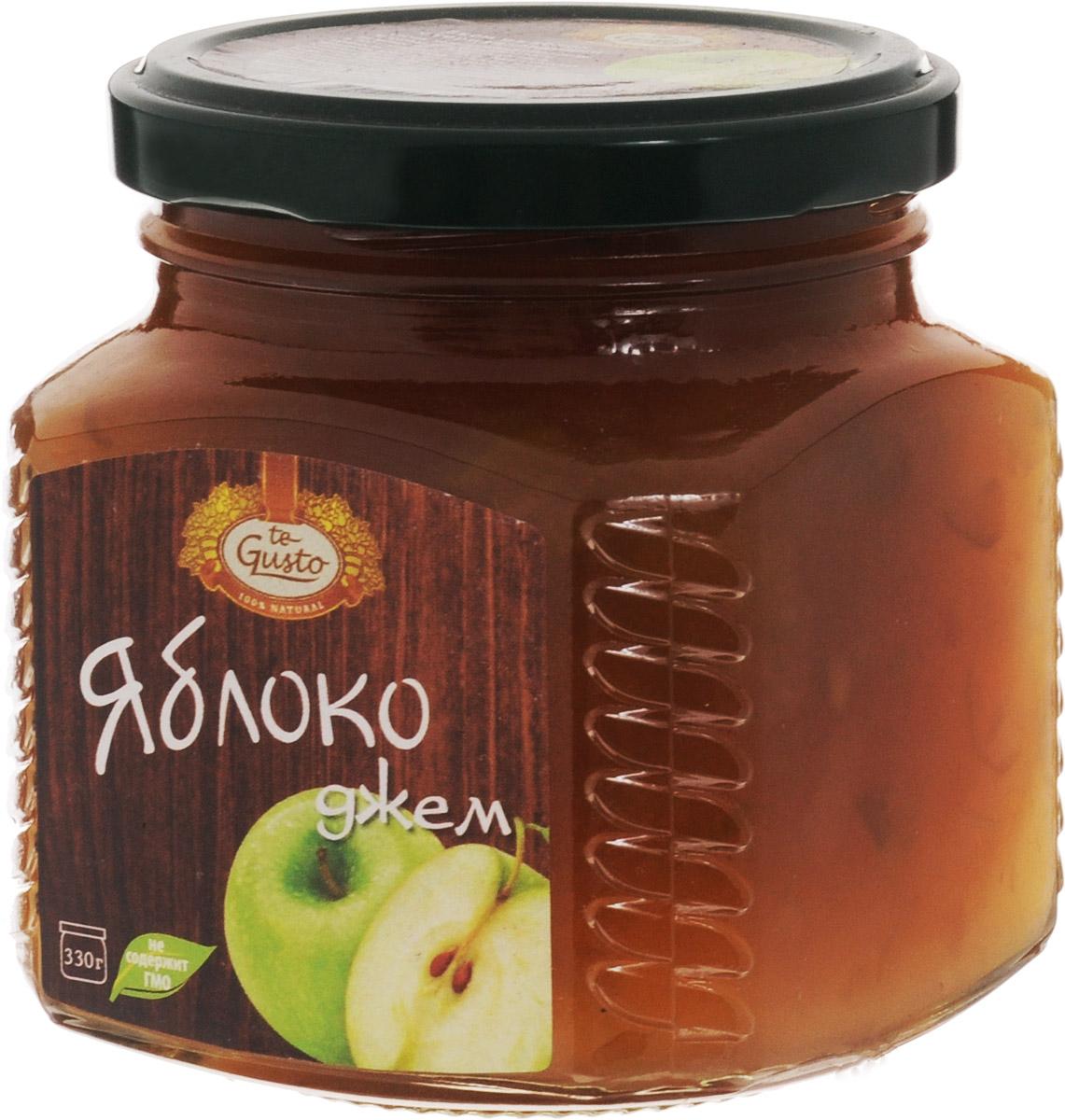 te Gusto Джем из яблок, 330 г4657155301283Ароматный джем  te Gusto сварен из яблок, имеет желеобразную консистенцию с крупными кусочками фруктов.Для приготовления используются только свежие, тщательно отобранные плоды, созревшие в экологически чистых местах. Продукт не содержит ГМО.Полезные элементы, которыми богат яблочный джем - это калий и пектин. Калий полезен для мочевыводящей системы и сердца, а пектин нормализует уровень холестерина в организме и способствует выводу вредных веществ.