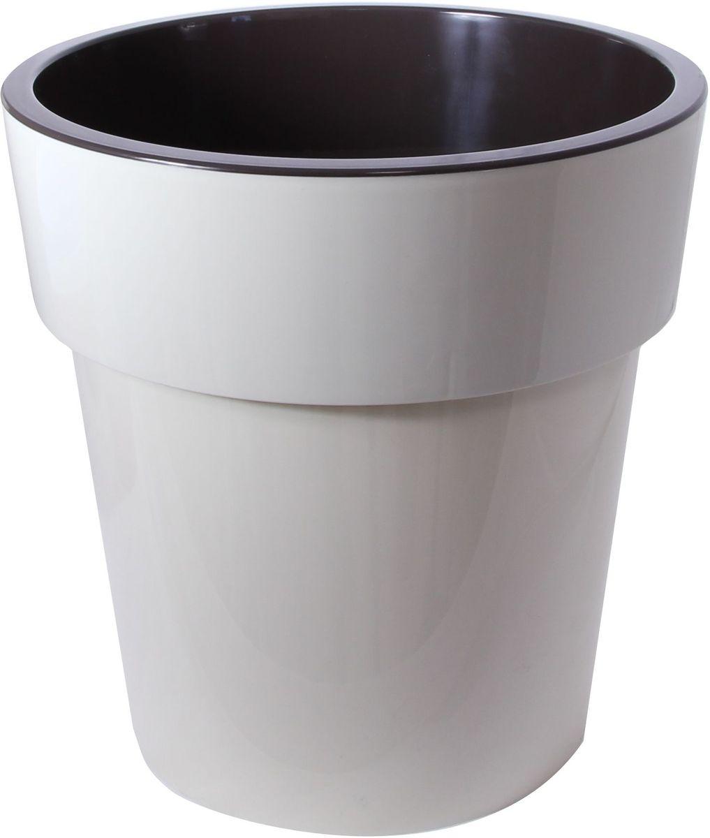 Кашпо Idea Тубус, цвет: светло-бежевый, темно-коричневый, диаметр 25 х 25 х 25,5 см531-402Кашпо Idea Тубус изготовлено из прочного пластика. Изделие прекрасно подходит для выращивания растений и цветов в домашних условиях. Стильный современный дизайн органично впишется в интерьер помещения.