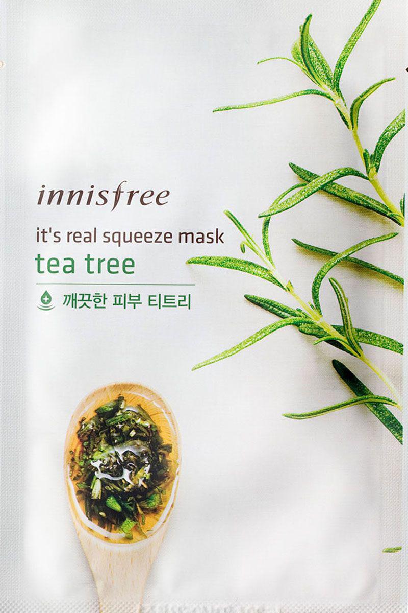Innisfree Its Real Маска для лица с экстрактом чайного дерева, 20 млFS-00897Маска с натуральным соком листьев чайного дерева придает эластичность и здоровый вид коже, обладает увлажняющими и успокаивающими свойствами. Экстракт чайного дерева - мощный природный антисептик, обладает бактерицидными, противогрибковыми, противовирусными свойствами, эффективно воздействует на проблемную кожу, устраняет акне, регулирует выделение кожного жира и снимает разражение.