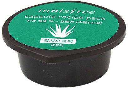 Innisfree Capsule Recipe Капсульная маска с экстрактом алое, 10 мл9770019В алоэ содержится богатейший набор биологически активных веществ и микроэлементов (калий, селен, кальций, кремний, цинк, магний), полисахаридов, гликопротеинов, фитонцидов, флавоноидов, витаминов (A, B, C, E). Сок Алоэ обладает увлажняющими, регенерирующими, противовоспалительными свойствами, очищает поры и стягивает их, разглаживает морщинки, стимулирует процесс образования собственного коллагена, сохраняет упругость и подтянутость кожи.