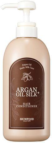 Skinfood Argan Oil Silk Кондиционер с аргановым маслом, 500 мл09440109Восстанавливающий кондиционер для волос на основе арганового масла надежно защищает волосы от пересыхания, обеспечивая глубокое питание и увлажнение. Кондиционер раскрывает природный потенциал волос, обеспечивает сияние и здоровый ухоженный вид, они становятся менее пушистыми, более послушными, блестящими и шелковистыми. Содержит: экстракт и масло арганы, гидрализованный кератин и шелк, экстракт зеленого чая, керамиды и пантенол.