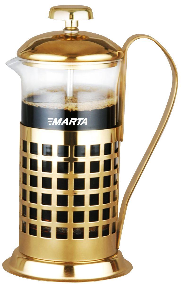 Френч-пресс Marta, 350 мл115510Френч-пресс Marta – идеальный кухонный прибор для быстрого заваривания кофе или чая. Молотый кофе или сухие чайные листья засыпаются в френч-пресс, заливаются кипятком, а затем накрываются съемным фильтром и крышкой. Крепость напитка контролируется при помощи съемного фильтра, который в процессе заваривания имеет функцию пресса и тем самым гарантирует насыщенный вкус и аромат напитка.Корпус выполнен из жаропрочного стекла, который выдерживает значительные перепады температуры, не выделяет примесей и сохраняет все свойства воды, а разборная конструкция френч-пресса облегчает уход. Подставка из матовой нержавеющей стали декорирована оригинальной перфорацией.Френч-пресс Marta – элегантный и практичный аксессуар, с помощью которого можно быстро и без особых усилий получить свежезаваренный бодрящий напиток и сохранить активность в течение всего дня.