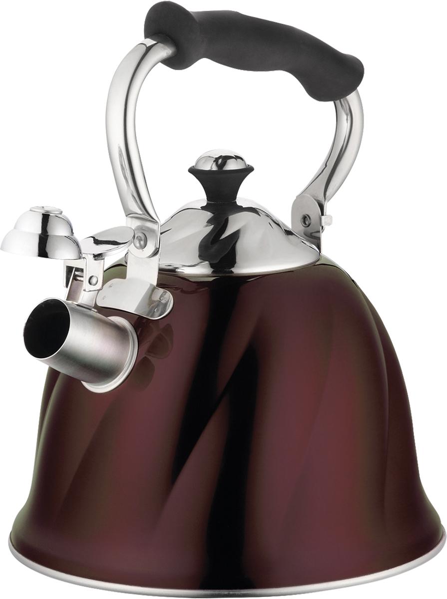 Чайник Marta, со свистком, цвет: шоколад, 3 л. MT-3045FS-80418Чайник Marta выполнен из высококачественной нержавеющей стали и оснащен ненагревающейся складной ручкой с силиконовым покрытием. Теплоемкое трехслойное капсульное дно обеспечивает быстрый нагрев чайника и равномерно распределяет тепло по его корпусу. Кипячение воды занимает меньше времени, а вода дольше остается горячей. Свисток на носике чайника - привычный элемент комфорта и безопасности. Своевременный сигнал о готовности кипятка сэкономит время и электроэнергию, вода никогда не выкипит полностью, а чайник прослужит очень долго. Оригинальный механизм поднятия свистка добавляет чайнику индивидуальности - при поднятии чайника за ручку свисток автоматически открывает носик для удобства наливания кипятка в чашку. Чайник подходит для всех видов плит, кроме индукционных.