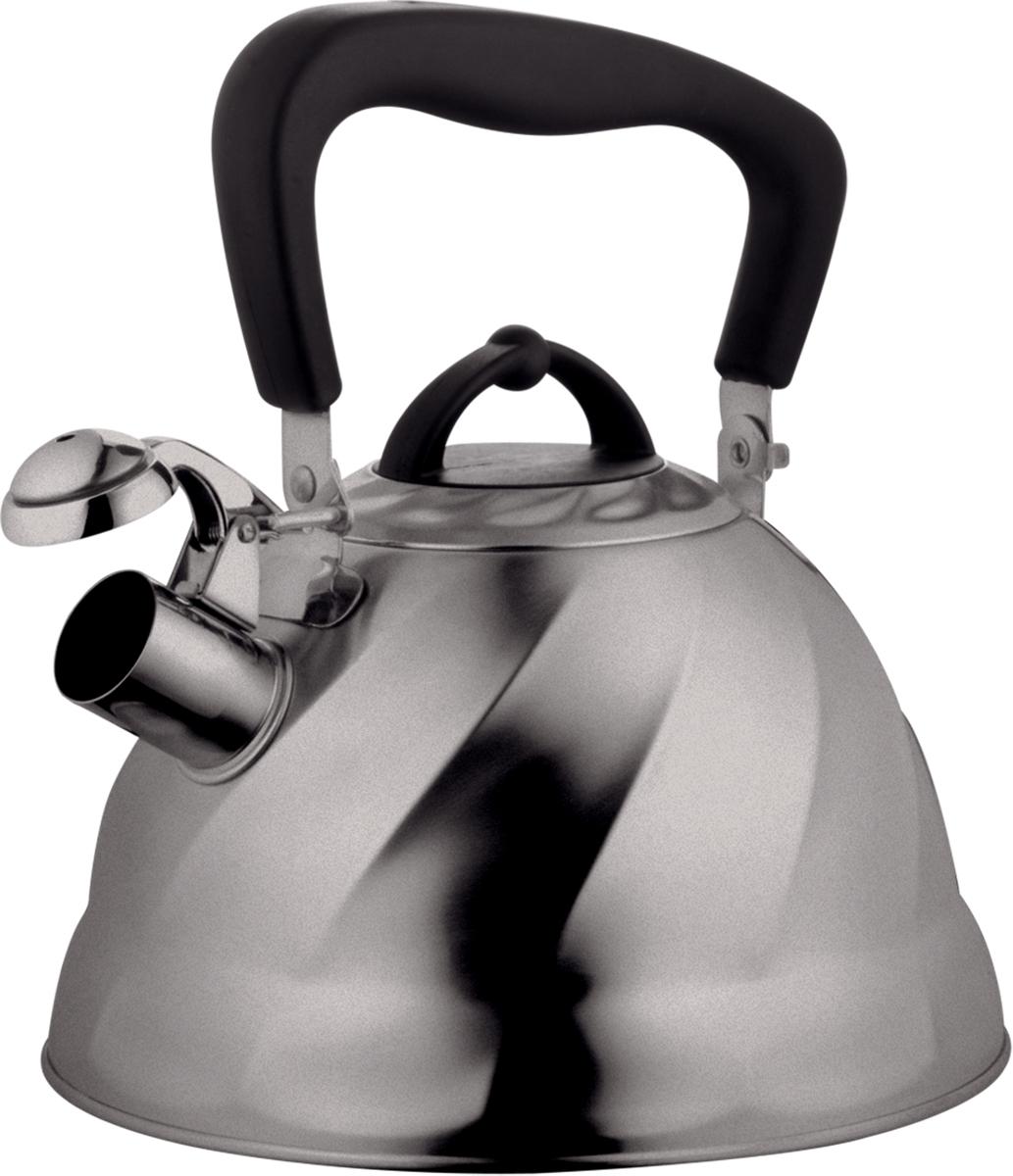 Чайник Marta, со свистком, цвет: стальной, матовый, 3 л. MT-304468/5/2Чайник Marta выполнен из высококачественной нержавеющей стали с матовой полировкой и оснащен ненагревающейся складной ручкой с силиконовым покрытием. Теплоемкое трехслойное капсульное дно обеспечивает быстрый нагрев чайника и равномерно распределяет тепло по его корпусу. Кипячение воды занимает меньше времени, а вода дольше остается горячей. Свисток на носике чайника - привычный элемент комфорта и безопасности. Своевременный сигнал о готовности кипятка сэкономит время и электроэнергию, вода никогда не выкипит полностью, а чайник прослужит очень долго. Оригинальный механизм поднятия свистка добавляет чайнику индивидуальности - при поднятии чайника за ручку свисток автоматически открывает носик для удобства наливания кипятка в чашку. Чайник подходит для всех видов плит, кроме индукционных.