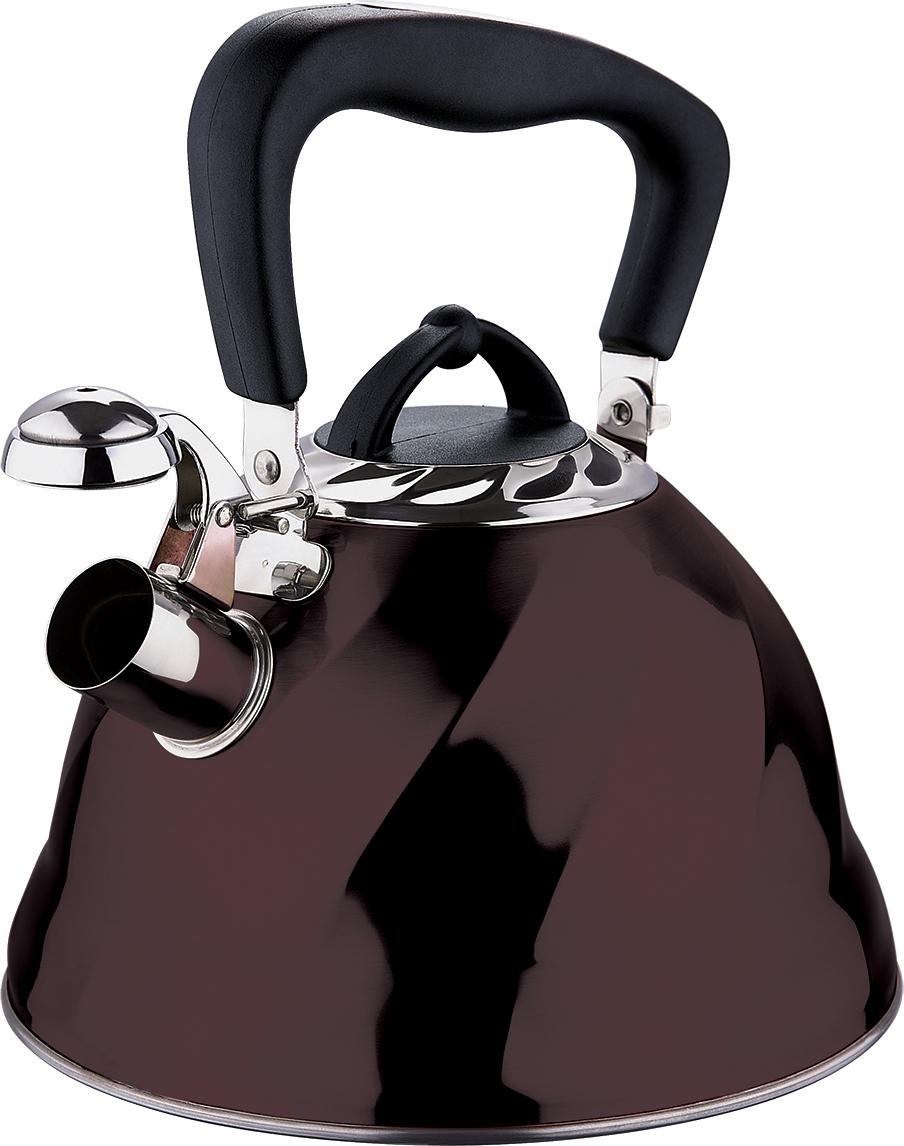 Чайник Marta, со свистком, цвет: шоколад, 3 л. MT-304354 009312Чайник Marta выполнен из высококачественной нержавеющей стали и оснащен ненагревающейся ручкой с силиконовым покрытием. Теплоемкое капсульное дно обеспечивает быстрый нагрев чайника и равномерно распределяет тепло по его корпусу. Кипячение воды занимает меньше времени, а вода дольше остается горячей. Свисток на носике чайника - привычный элемент комфорта и безопасности. Своевременный сигнал о готовности кипятка сэкономит время и электроэнергию, вода никогда не выкипит полностью, а чайник прослужит очень долго. Оригинальный механизм поднятия свистка добавляет чайнику индивидуальности - при поднятии чайника за ручку свисток автоматически открывает носик для удобства наливания кипятка в чашку. Чайник подходит для всех видов плит, кроме индукционных.