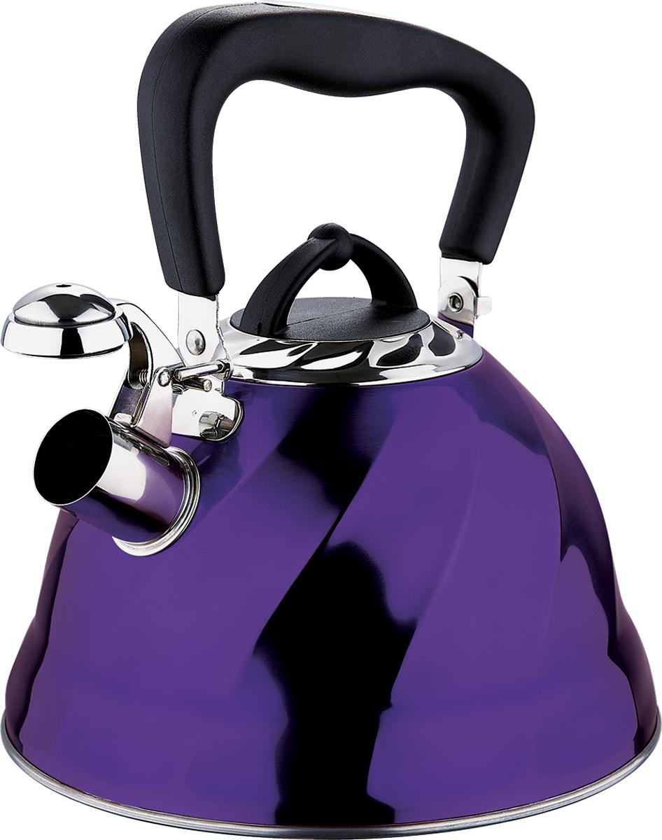 Чайник Marta, со свистком, цвет: фиолетовый, 3 л. MT-3043VT-1520(SR)Чайник Marta выполнен из высококачественной нержавеющей стали и оснащен ненагревающейся ручкой с силиконовым покрытием. Теплоемкое капсульное дно обеспечивает быстрый нагрев чайника и равномерно распределяет тепло по его корпусу. Кипячение воды занимает меньше времени, а вода дольше остается горячей. Свисток на носике чайника - привычный элемент комфорта и безопасности. Своевременный сигнал о готовности кипятка сэкономит время и электроэнергию, вода никогда не выкипит полностью, а чайник прослужит очень долго. Оригинальный механизм поднятия свистка добавляет чайнику индивидуальности - при поднятии чайника за ручку свисток автоматически открывает носик для удобства наливания кипятка в чашку. Чайник подходит для всех видов плит, кроме индукционных.
