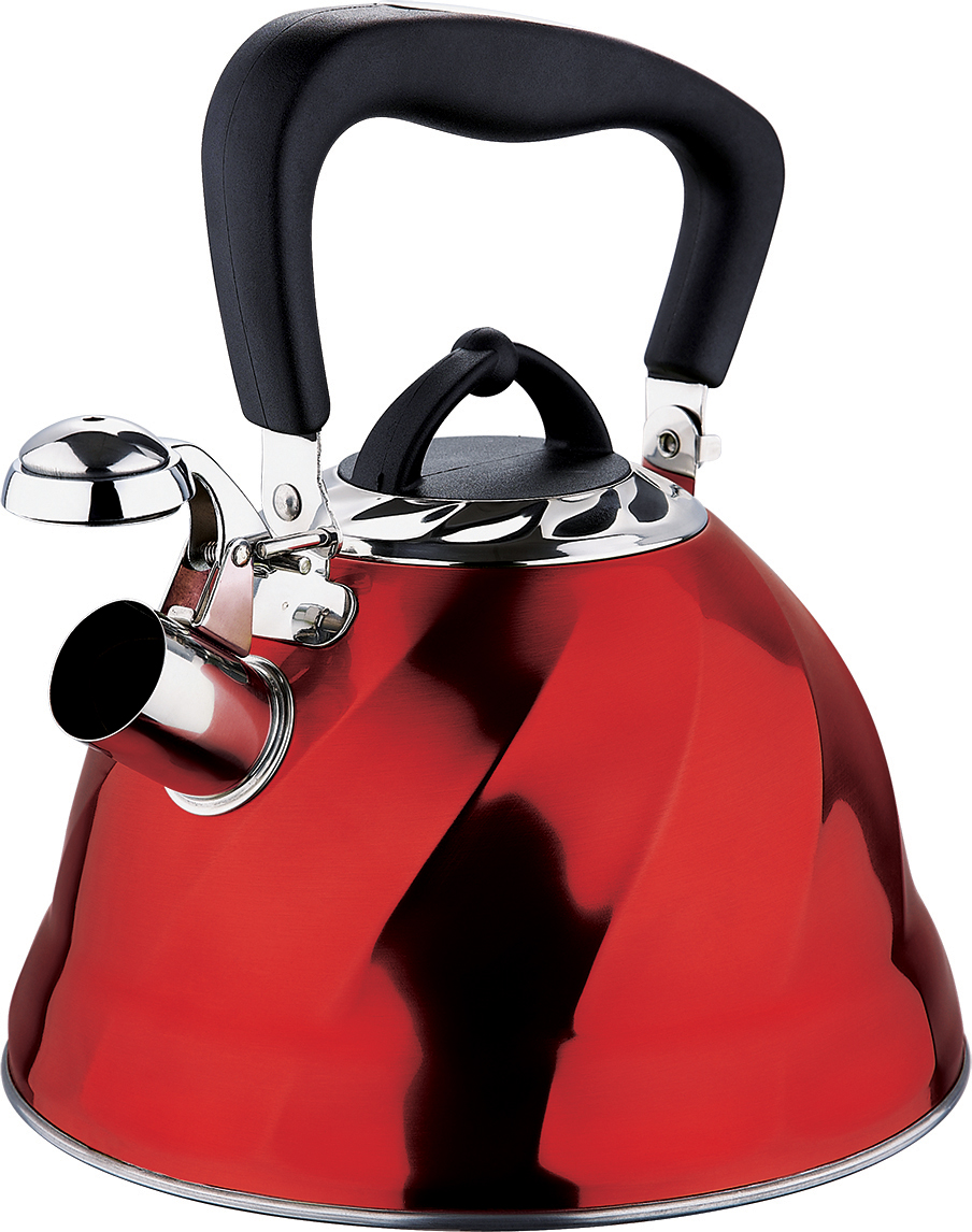 Чайник Marta, со свистком, цвет: красный, 3 л. MT-304354 009312Чайник Marta выполнен из высококачественной нержавеющей стали и оснащен ненагревающейся ручкой с силиконовым покрытием. Теплоемкое капсульное дно обеспечивает быстрый нагрев чайника и равномерно распределяет тепло по его корпусу. Кипячение воды занимает меньше времени, а вода дольше остается горячей. Свисток на носике чайника - привычный элемент комфорта и безопасности. Своевременный сигнал о готовности кипятка сэкономит время и электроэнергию, вода никогда не выкипит полностью, а чайник прослужит очень долго. Оригинальный механизм поднятия свистка добавляет чайнику индивидуальности - при поднятии чайника за ручку свисток автоматически открывает носик для удобства наливания кипятка в чашку. Чайник подходит для всех видов плит, кроме индукционных.