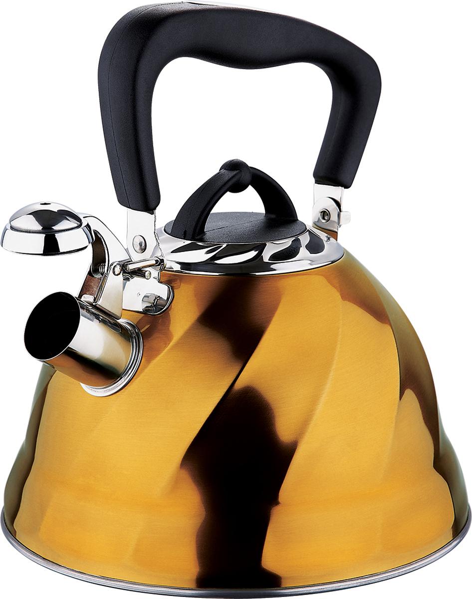 Чайник Marta, со свистком, цвет: золотистый, 3 л. MT-3043VT-1520(SR)Чайник Marta выполнен из высококачественной нержавеющей стали и оснащен ненагревающейся ручкой с силиконовым покрытием. Теплоемкое капсульное дно обеспечивает быстрый нагрев чайника и равномерно распределяет тепло по его корпусу. Кипячение воды занимает меньше времени, а вода дольше остается горячей. Свисток на носике чайника - привычный элемент комфорта и безопасности. Своевременный сигнал о готовности кипятка сэкономит время и электроэнергию, вода никогда не выкипит полностью, а чайник прослужит очень долго. Оригинальный механизм поднятия свистка добавляет чайнику индивидуальности - при поднятии чайника за ручку свисток автоматически открывает носик для удобства наливания кипятка в чашку. Чайник подходит для всех видов плит, кроме индукционных.